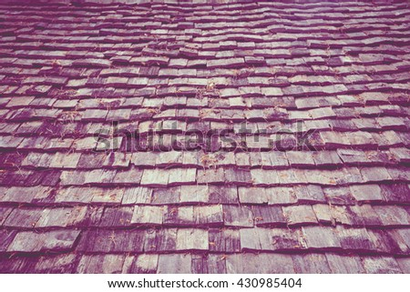 Roof made of wood. Close Up Wooden Tile Background vintage photo - stock photo