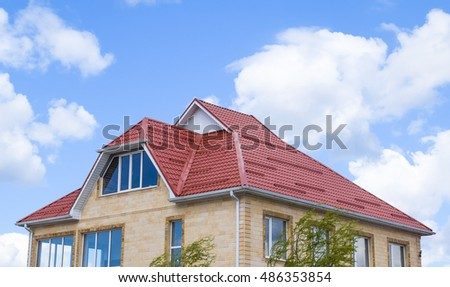 Steel roof truss stock images royalty free images for Modern roofing materials