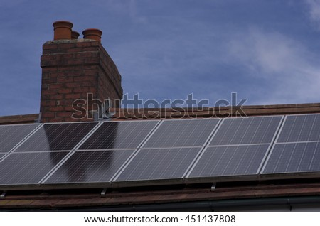 Roof Mounted Solar Panels in Manchester England - stock photo