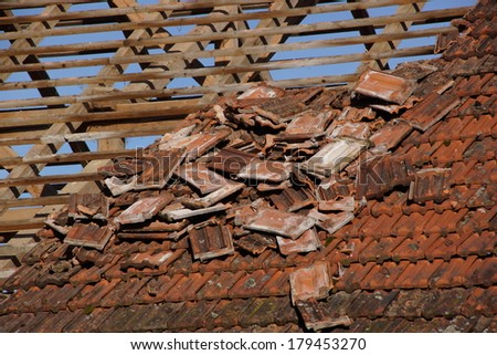 Roof of an old barn which is ready for demolishing