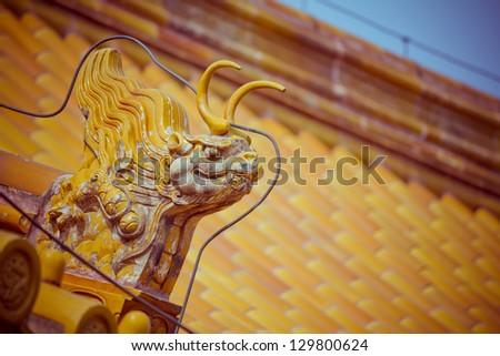 Roof of forbidden city, Beijing, China. - stock photo
