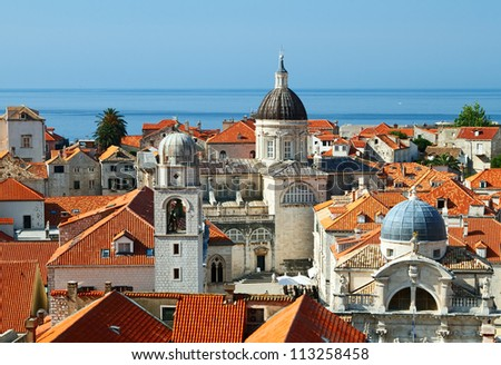 Roof of Old City in Dubrovnik, Croatia. - stock photo