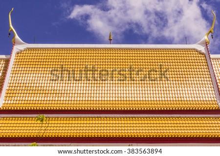 Roof of Thai Buddhist Church, Phuket, Thailand - stock photo