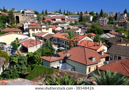 Roof  of the small city. Extra wide. - stock photo