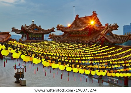Roof of the Thean Hou Temple in Kuala Lumpur. - stock photo