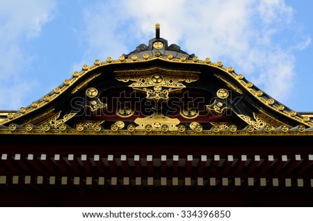roof of Zojoji temple, Tokyo, Japan - stock photo
