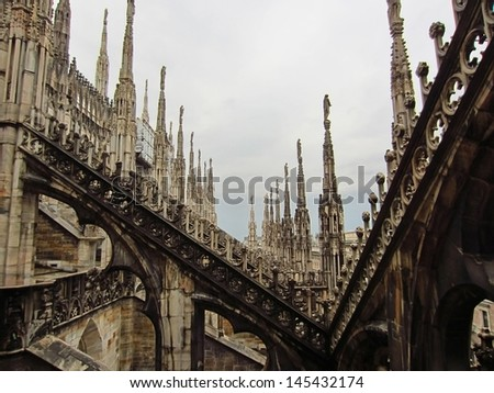 Roof on the Cathedral in Milan, Italy