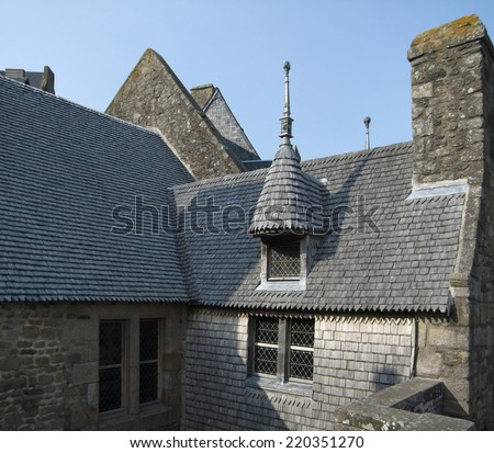 roof scenery at Saint-Malo, a port city in northwestern France - stock photo