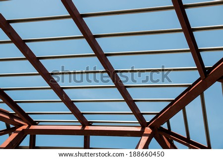 Roof steel background new house construction