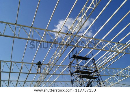 Roof Structure constructing - stock photo