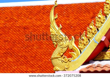 roof style of thai temple with gable apex on the top - stock photo
