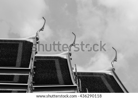 roof style of thai temple with gable apex on the top,thailand,black and white photography - stock photo