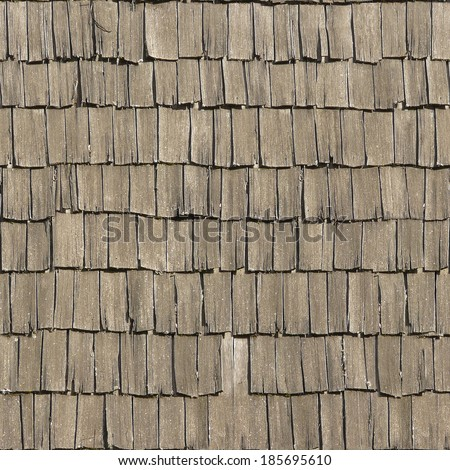 Roof texture of splintering, wooden planks in grey color. - stock photo
