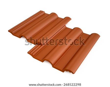 Roof tile isolated on white - stock photo