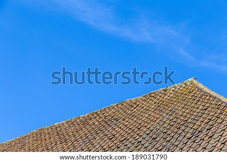 roof tile over clear blue sky