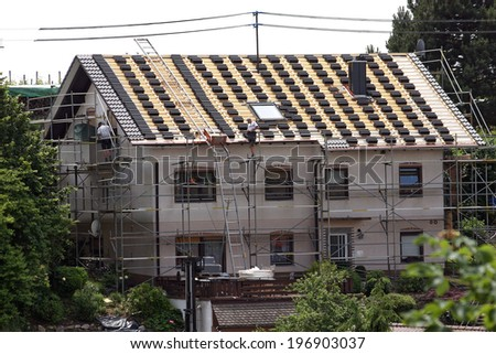 roof tiles on a house