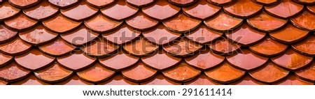 Roof tiles texture , roof of temple - stock photo