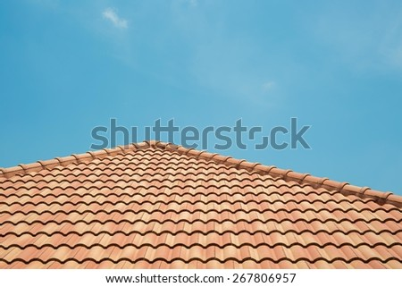 Roof tiles with blue sky