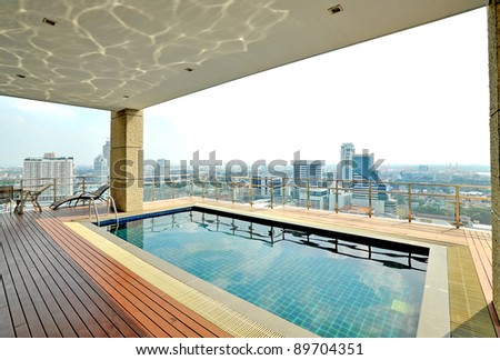 roof top pool - stock photo