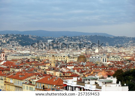 Roof tops from Nice city in France