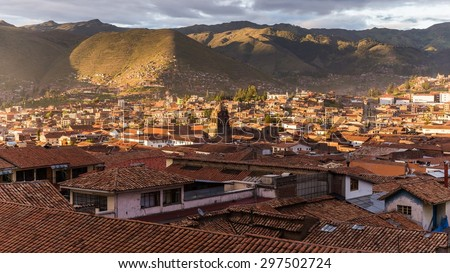roof tops of the nice city cusco in peru