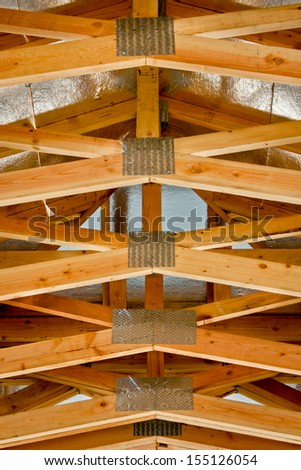 Roof truss system from below. - stock photo