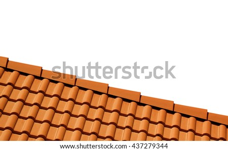 Roof with tiles. Isolated on white background with copy space. - stock photo