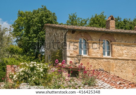 Roof with wild flowers. The historic center of Bagno Vignoni in Val d'Orcia, Tuscany. - stock photo