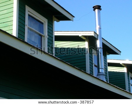Roof with windows - stock photo