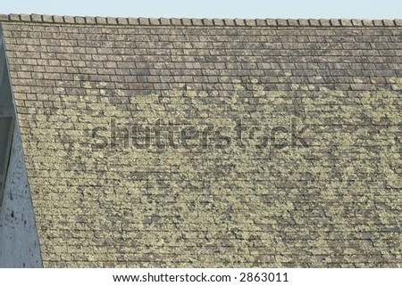 roof with wooden shingles - stock photo