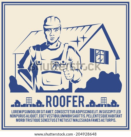 Roofer house builder male tradesman worker silhouette poster  illustration - stock photo
