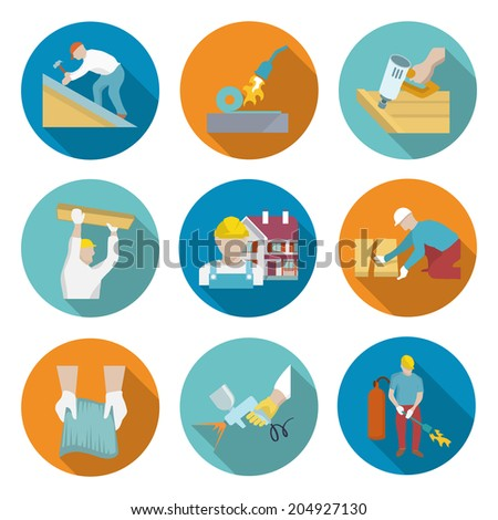 Roofer profession house improvement long shadow round button icons set isolated  illustration - stock photo