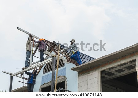 Roofing Construction  - stock photo
