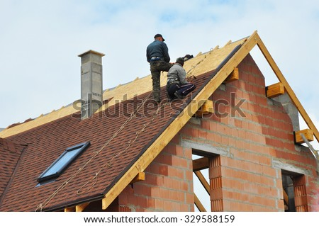 Great Roofing Construction And Building New Brick House With Modular Chimney,  Skylights, Attic, Dormers