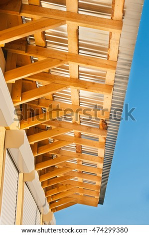 Roofing Construction. Wooden Roof House Construction