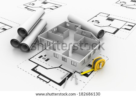 roofless architecture model - stock photo