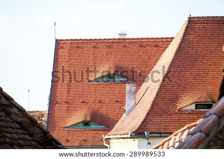 Roofs and architectural details in Sibiu, Romania. Special roof desigh with eyes