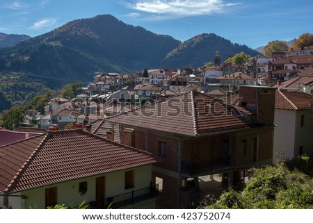 Roofs and valley of Town of Metsovo, Epirus, Greece