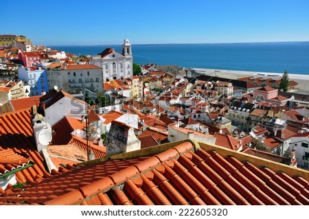 Roofs of Alfama, Lisbon, Portugal - stock photo