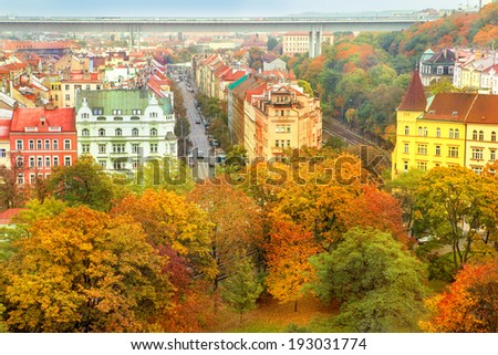 Roofs of autumnal Prague, view from Vyshegrad - stock photo