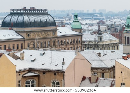 Roofs of Croatian capital Zagreb covered with snow