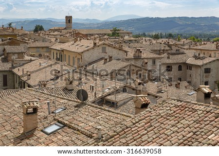 Roofs of houses of the medieval town of Gubbio (Umbria - Italy)