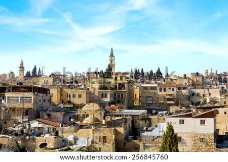 Roofs of Jerusalem, Israel - stock photo