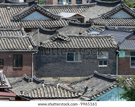 Roofs of korean houses in Seoul