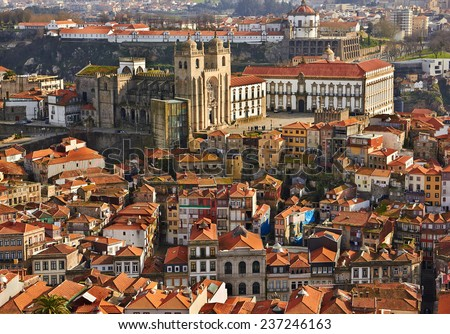 Roofs of old city and The Porto Cathedral (Se do Porto) in Porto, Portugal