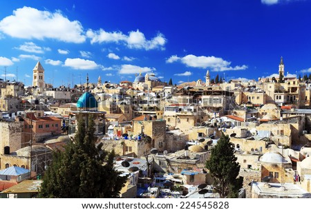 Roofs of Old City with Holy Sepulcher Chirch Dome, Jerusalem, Israel - stock photo