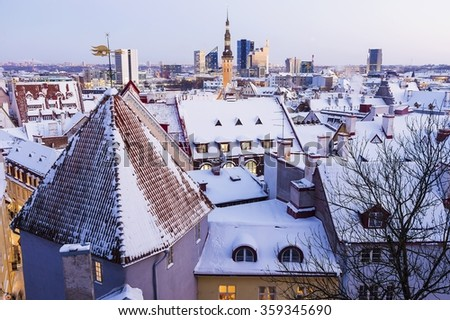 roofs of Old Tallinn in the winter - stock photo
