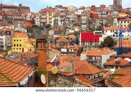 roofs of Porto, Portugal - stock photo