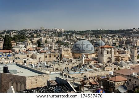 Roofs of the Old City, Jerusalem - stock photo
