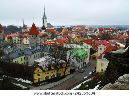 Roofs of the old Tallinn - stock photo